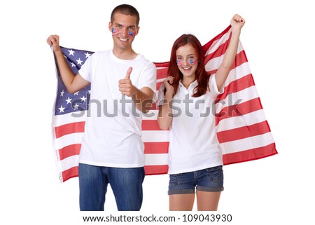 Happy couple with american flags on their cheeks, isolated