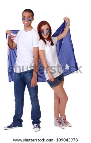 Happy couple with Australian flags on their cheeks, isolated - stock photo