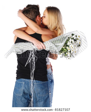 happy couple with flowers - stock photo