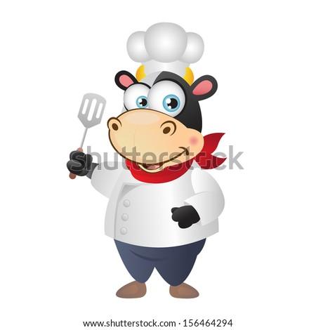 Happy Cow Chef - stock photo
