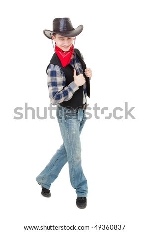 Happy cowboy dancing on a white background