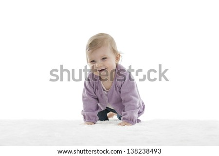 happy crawling baby , isolated on white background
