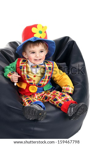 happy crazy clown in a party - stock photo