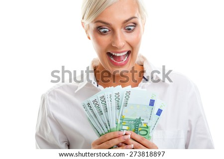 happy crazy young woman holding euro bills over white