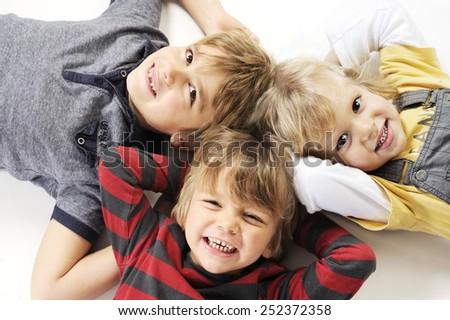 happy cute boys - stock photo