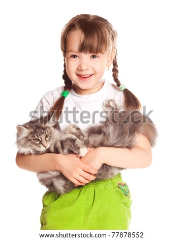 happy cute five year old girl  with her cat, isolated against white background
