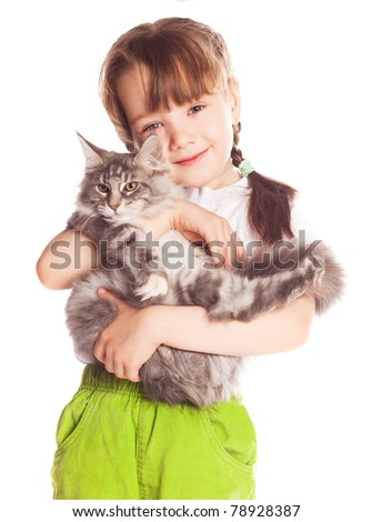 happy cute five year old girl  with her cat, isolated against white background - stock photo