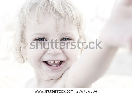 happy cute girl in summer - stock photo