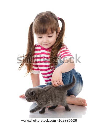 happy cute girl with her cat. isolated on white background