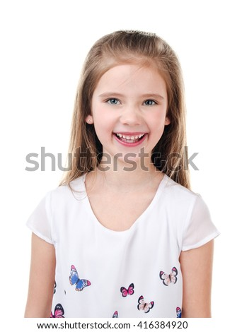 Happy cute little girl isolated on a white - stock photo