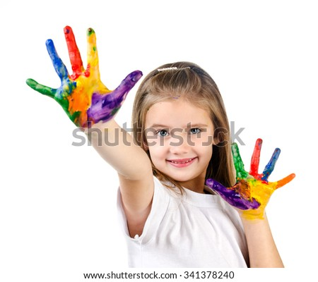Happy cute little girl with colorful painted hands isolated on a white education concept - stock photo