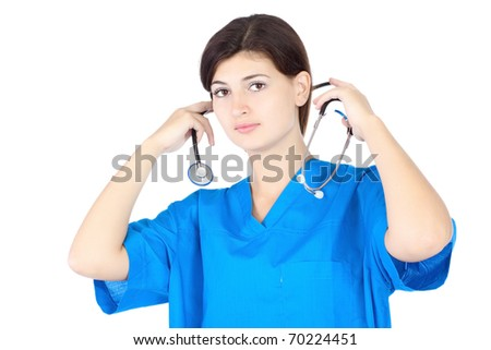 happy cute nurse in blue uniform over white background
