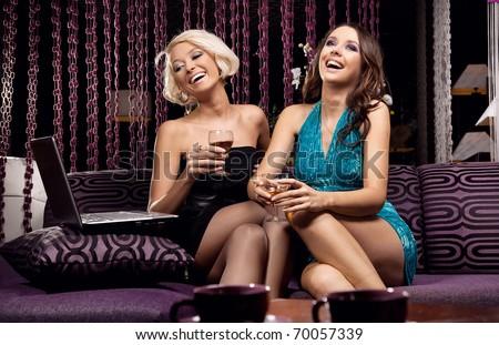 Happy cute women - stock photo