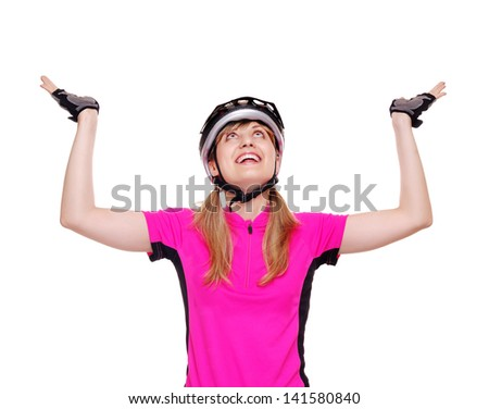 Happy cyclist making a holding gesture - stock photo
