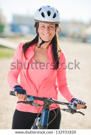 Happy Cyclist Woman, Outdoors