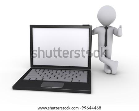 Happy 3d businessman holding a laptop - stock photo