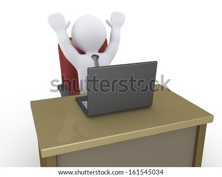 Happy 3d businessman with a laptop in an office