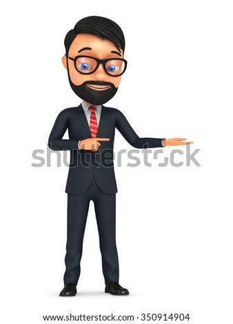 Happy 3d cartoon man in a tie isolated on white background. Hand pointing at empty space for advertising. - stock photo