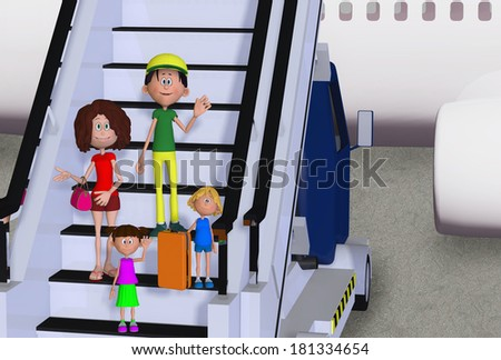 Happy 3d family in airport - stock photo