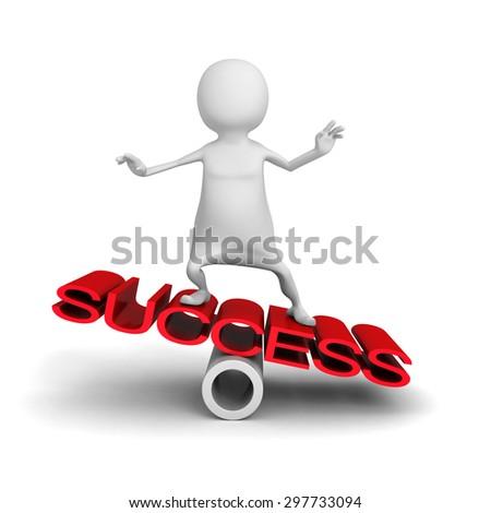 Happy 3d Man Balance On Word Success. 3d Render Illustration - stock photo