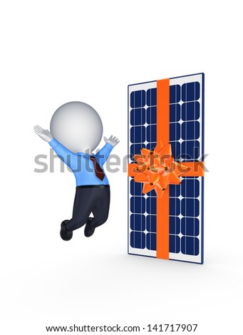 Happy 3d small person and solar battery.Isolated on white.3d rendered.