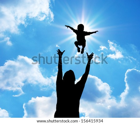 Happy daddy and son. Emotional scene. - stock photo