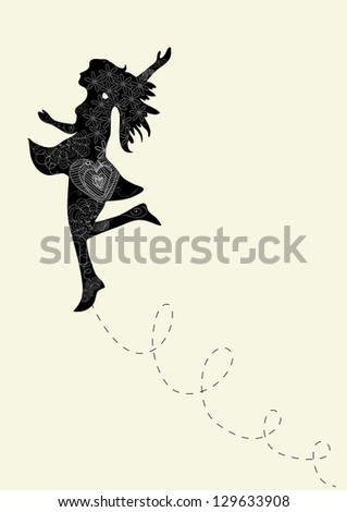 Happy dance woman with outline floral elements. - stock photo
