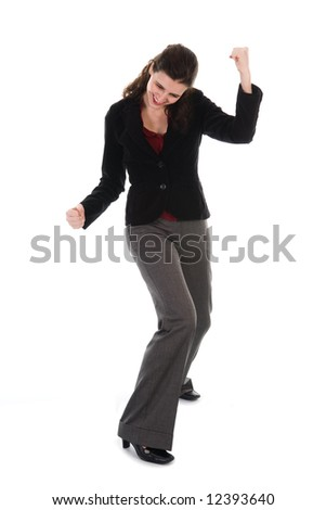 happy dancing business woman on a white background - stock photo