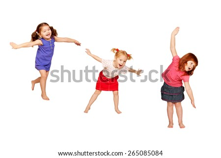 Happy dancing kids. Isolated on white background. - stock photo