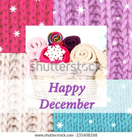 Happy December written on colorful knitted background - stock photo