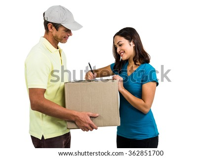 Happy delivery man with customer against white background - stock photo