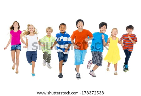 Happy Diverse Multi-ethnic Children Running - stock photo