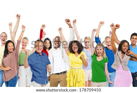 Happy Diverse World People Celebrating - stock photo