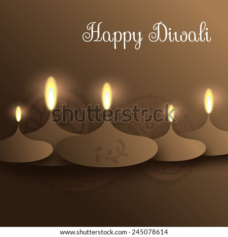 Happy Diwali illustration with candles and hindu pattern - stock photo