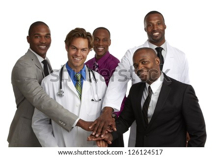 Happy doctor and team of business men with all hands in isolated on white background.