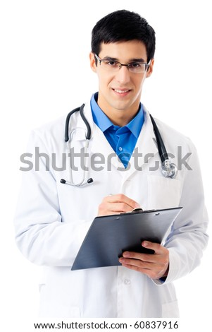 Happy doctor with clipboard, isolated on white - stock photo