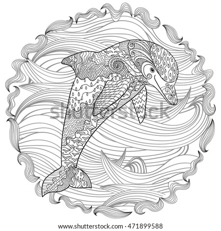 Adult Antistress Coloring Page Black White Hand Drawn Doodle
