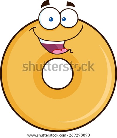 Happy Donut Cartoon Character. Raster Illustration Isolated On White - stock photo