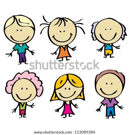 Happy doodle family - stock photo