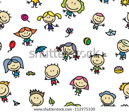 Happy doodles children seamless background - stock photo