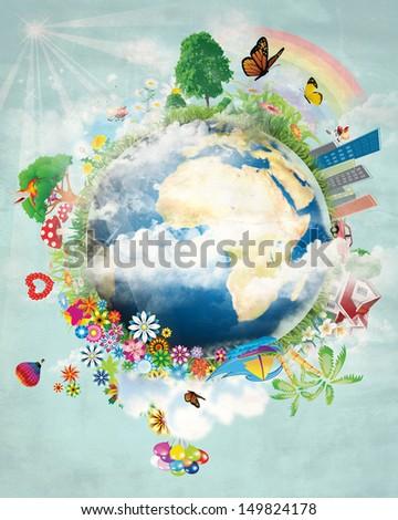 Happy earth design - stock photo