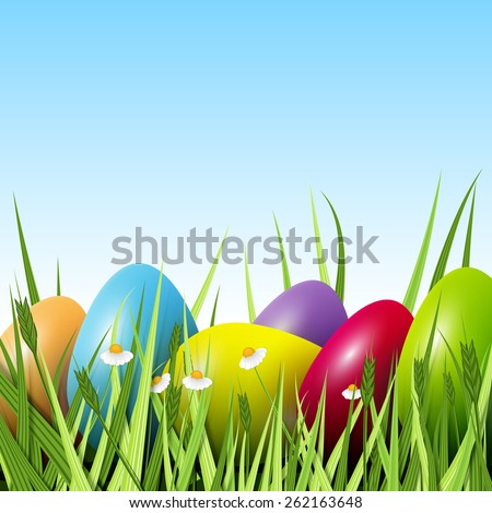 Happy Easter, a lot of colorful eggs in the grass, excellent illustration - stock photo