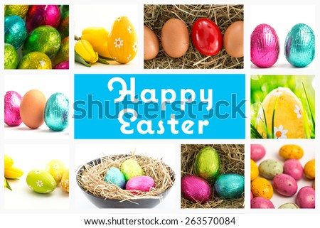 happy easter against yellow easter egg with yellow tulips - stock photo