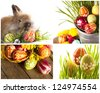 Happy Easter - baby rabbits and easter eggs - stock photo