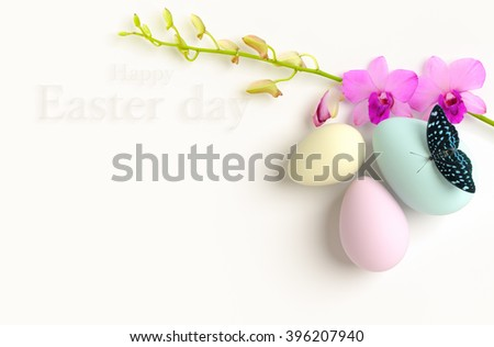 Happy Easter background beautiful 3D rendering. - stock photo