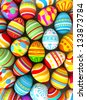 Happy Easter. Background with painted eggs. Conceptual illustration. 3d render - stock photo