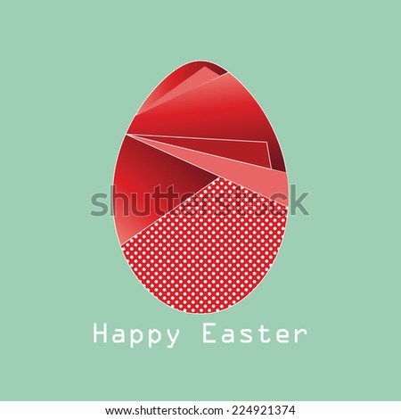 Happy easter background with red origami egg - stock photo