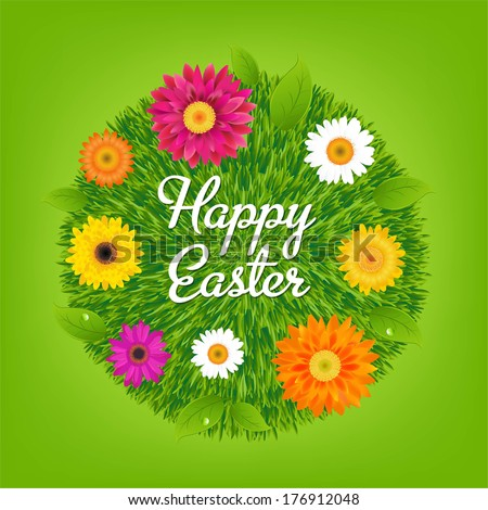 Happy Easter Ball With Flowers - stock photo