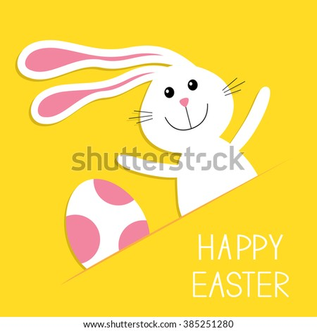 Happy Easter. Bunny rabbit hare and pink painted egg in the paper pocket. Baby greeting card. Yellow background. Flat design. - stock photo