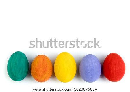 Happy Easter card. Colorful shiny easter eggs on isolated white background. Copy space for text